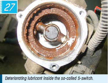 Deteriorating lubricant inside the so-called S-switch