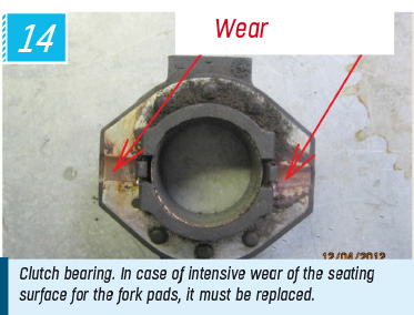 Clutch bearing. In case of intensive wear of the seating surface for the fork pads, it must be replaced.