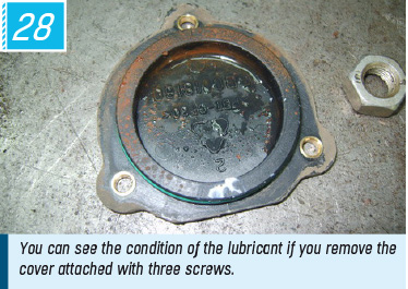 You can see the condition of the lubricant if you remove the cover attached with three screws.