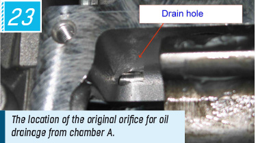 The location of the original orifice for oil drainage from chamber А.